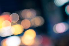 Blur defocused of neon light in urban at night abstract backgrou Stock Photo