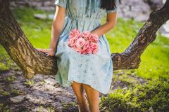 Blur, Dress, Female, Flower royalty free stock photos