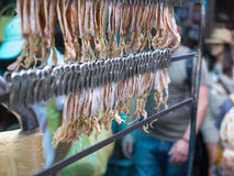 Blur of Dried Squid is Clamped on The Cart Royalty Free Stock Photo