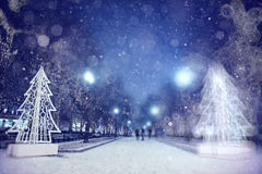 Blur evening city with snow Stock Photography