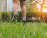 Blur feet are jumping on the green grass. royalty free stock photography