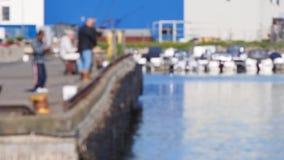 Blur of fishermen on pier stock video