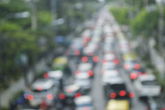 Blur focus of rush hour with cars and generic vehicles, Traffic Royalty Free Stock Image