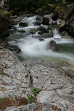 Blur on forest stream. Soft blur of water over rocky shores of forest stream Royalty Free Stock Photos