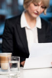 Blur image of business lady in background Royalty Free Stock Photos