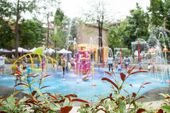 Blur image of children's water fun park  at public playground Royalty Free Stock Images