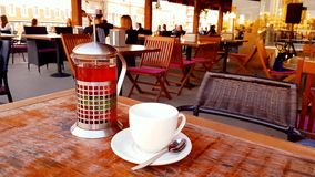 Blur image or defocus of customer in coffee shop. Blurred picture of interior of large beautiful restaurant with bright stock video
