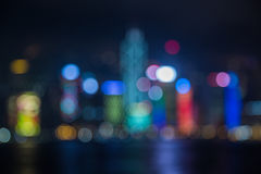 Blur image of Hongkong city with circle bokeh Stock Images