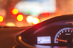 Blur image of inside cars with bokeh Royalty Free Stock Image