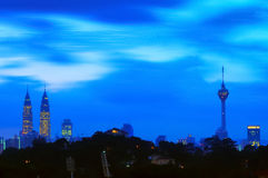 Blur image of Kuala Lumpur city during blue hour Stock Photos