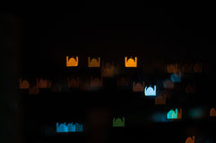 Blur image of Kuala Lumpur city, mosque bokeh shape with light trail Royalty Free Stock Images