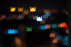 Blur image of Kuala Lumpur city, mosque bokeh shape with light trail. Bokeh has been defined as the way the lens renders out-of-focus points of light.Differences Stock Image