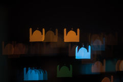 Blur image of Kuala Lumpur city, mosque bokeh shape with light trail Royalty Free Stock Image