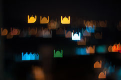 Blur image of Kuala Lumpur city, mosque bokeh shape with light trail. Bokeh has been defined as the way the lens renders out-of-focus points of light.Differences Stock Photo