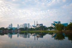 Blur image of Kuala Lumpur with reflection Royalty Free Stock Image
