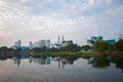 Blur image of Kuala Lumpur with reflection Royalty Free Stock Photography