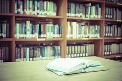 Blur image of the library , Vintage color filter Royalty Free Stock Photos