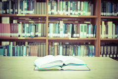 Blur image of the library , Vintage color filter Stock Photo