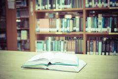 Blur image of the library , Vintage color filter Stock Images