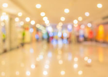 blur image of Long empty corridor on night time with bokeh. Stock Photography