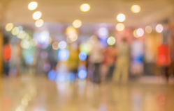 blur image of Long empty corridor on night time with bokeh. Royalty Free Stock Photo