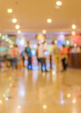 blur image of Long empty corridor on night time with bokeh. Stock Image