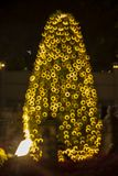 Blur image of night festival on street. Blurred background with bokeh royalty free stock images