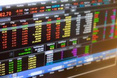 Blur image of Stock Exchange on screen use for background royalty free stock photos