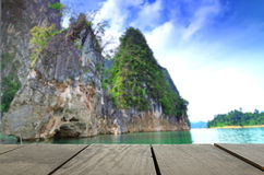 Blur image of terrace wood and beautiful Jetty walkway Guilin Thailandkway Guilin Thailand Royalty Free Stock Images