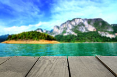 Blur image of terrace wood and beautiful seascape Royalty Free Stock Photography