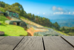 Blur image of terrace wood and military bunker. Defocused and blur image of terrace wood and military bunker for background usage Royalty Free Stock Photo
