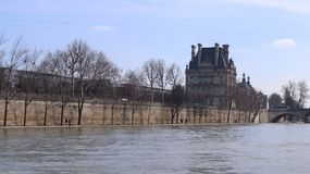Blur landscape of paris, take a photo from Boat with tourists o royalty free stock image