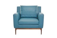 Blur leather and wood armchair modern designer stock photos