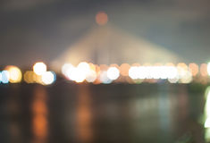 Blur light of the bridge. Blur light of Rama 8 bridge in Thailand Royalty Free Stock Photography