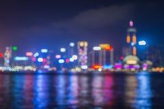 Blur lighten Cityscape along river Stock Images