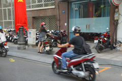 Blur of motorbike traffic Royalty Free Stock Images
