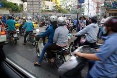 Blur of motorbike traffic Stock Images
