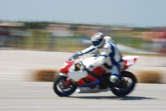 Blur motorcycle. Motorcycle races,  motorcycle in full speed,  blur, panning Stock Photography
