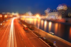 Blur night city with traffic lights Stock Images
