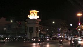 Blur Night traffic. Abstract Night traffic in Kanchanaburi stock video