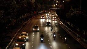 Blur Night traffic. In Kanchanaburi stock video