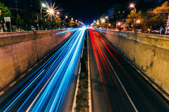 Blur of nighttime traffic Royalty Free Stock Photography