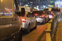 Blur Of Traffic Jam On The Road In The City In Evening Light,abstract Night Light Background With Blurry Shallow Depth Of Focus Stock Photos