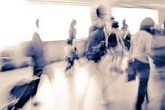 Blur passenger walk at subway Stock Image