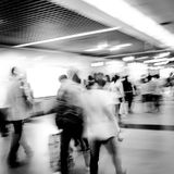Blur passenger walk at subway Stock Photo