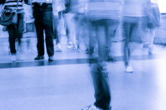 Blur passenger walk at subway Royalty Free Stock Photography