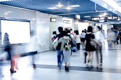 Blur passenger walk at subway station Stock Photography