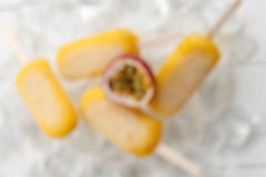Blur passion fruit  popsicle yummy fresh summer fruit sweet dessert still life. Blur out focus passion fruit  popsicle yummy fresh summer fruit sweet dessert on Royalty Free Stock Photography