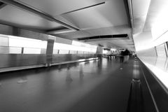 Blur people walk on footbridge Royalty Free Stock Photo