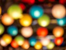 Blur rainbow of japan lamp interior indoor in public night plaza Stock Photography